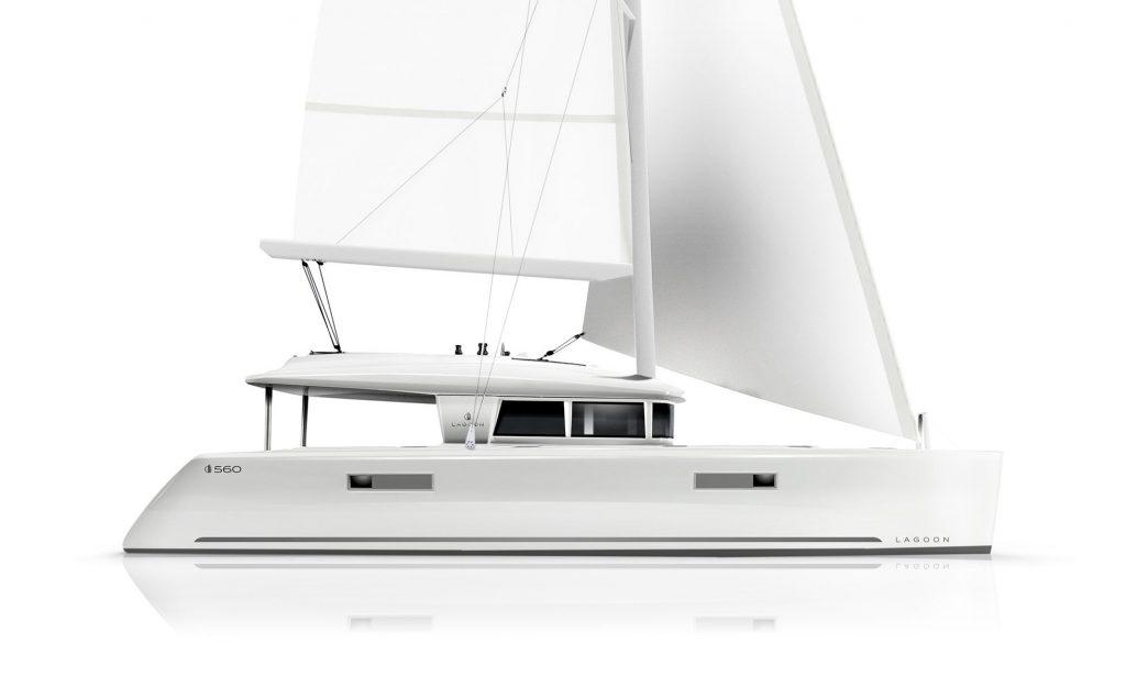 Catamarano Lagoon 560 Rendering Veduta Laterale